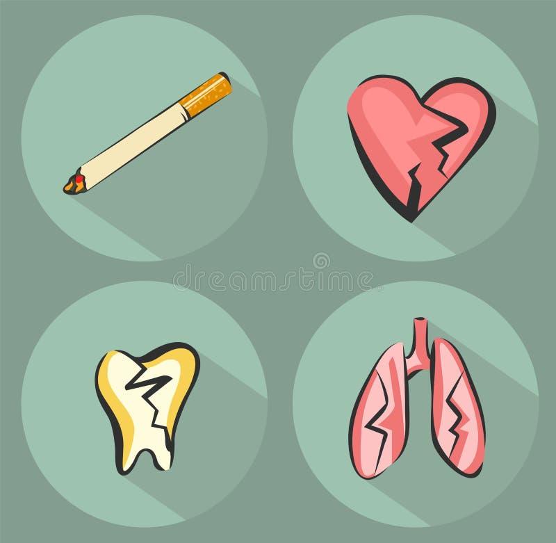 Ícones do dano e ícone de fumo do cigarro Coração, pulmões e dente de sofrimento Ilustrações do vetor ajustadas no estilo moderno ilustração royalty free
