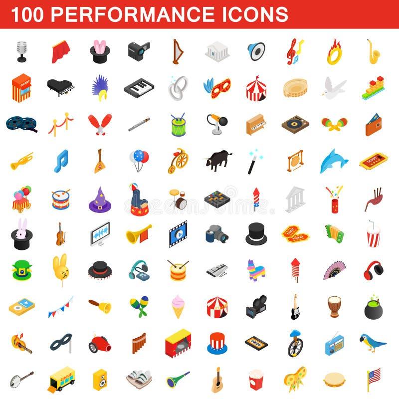 100 ícones do desempenho ajustados ilustração royalty free