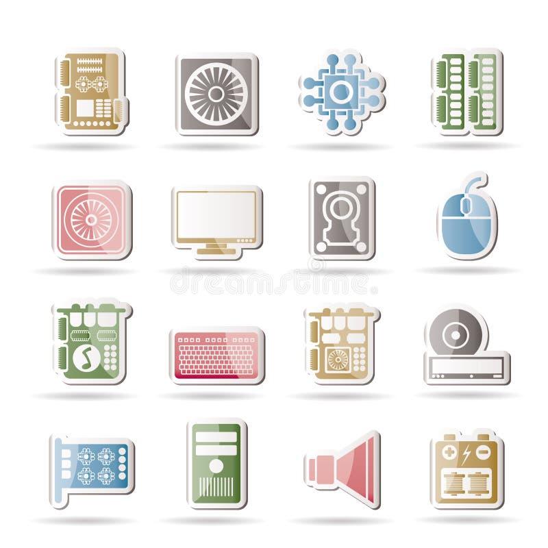 Ícones do desempenho e do equipamento de computador ilustração royalty free