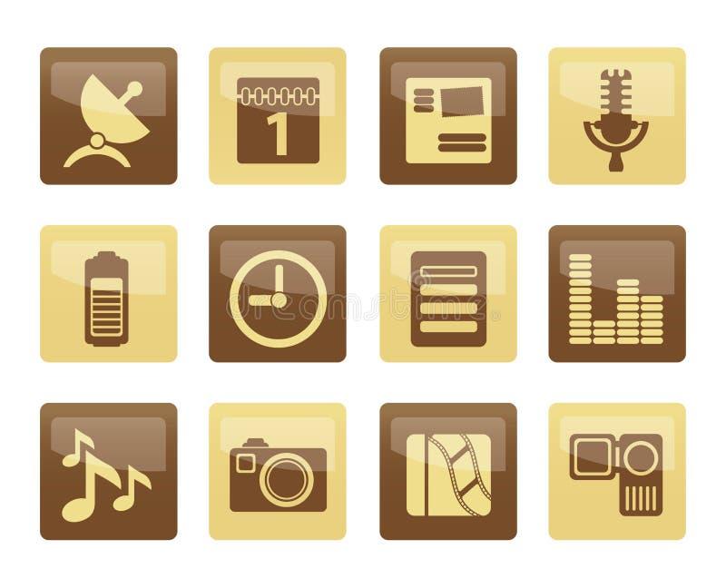 Ícones do desempenho do telefone celular sobre o fundo marrom ilustração stock