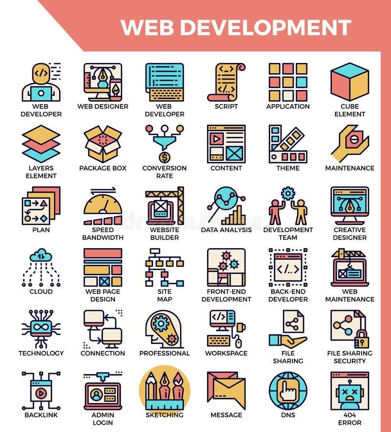 Ícones do desenvolvimento da Web ilustração do vetor