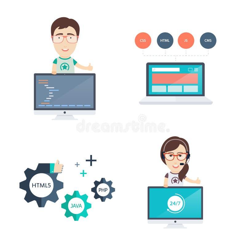 Ícones do desenvolvimento da Web ajustados ilustração royalty free