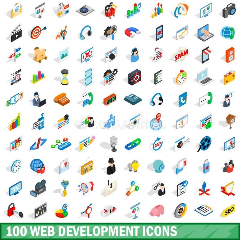 100 ícones do desenvolvimento da Web ajustaram-se, o estilo 3d isométrico ilustração stock