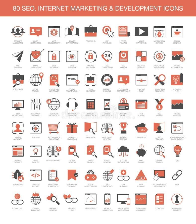 Ícones do desenvolvimento de mercado do Internet ilustração stock
