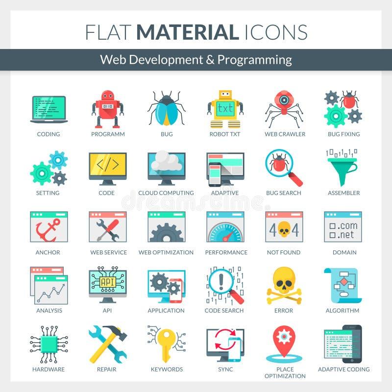 Ícones do desenvolvimento e da programação da WEB ilustração royalty free