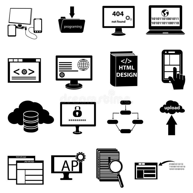 Ícones do desenvolvimento e da programação da Web ajustados ilustração do vetor
