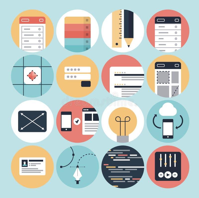 Ícones do desenvolvimento moderno da Web e do projeto gráfico ilustração royalty free