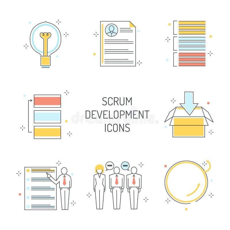 Ícones do desenvolvimento do scrum ajustados - metodologia ágil para controlar o projeto ilustração royalty free