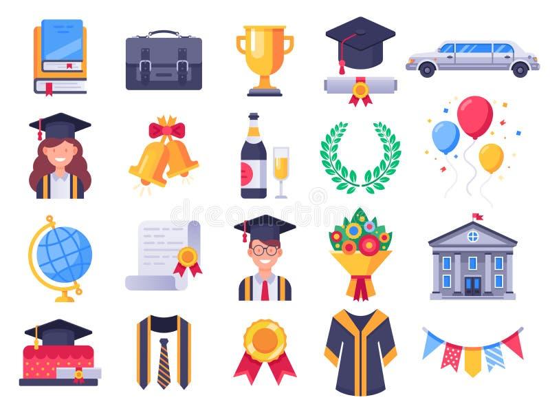 Ícones do dia de graduação Partido dos alunos diplomados de faculdade, tampão da graduação e vestido do estudante Ilustraç ilustração stock