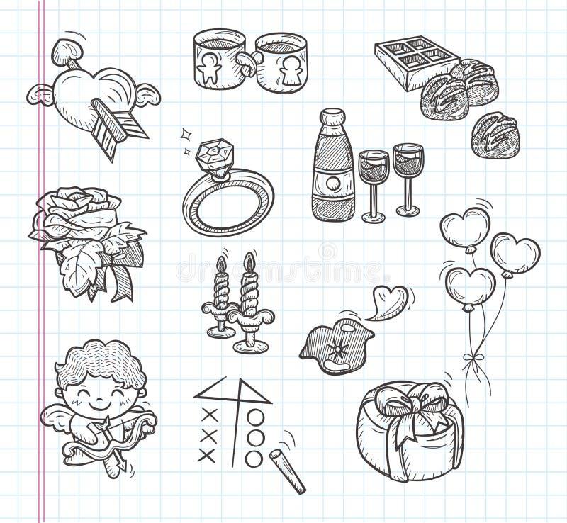 Ícones do dia de Valentim da garatuja ilustração stock