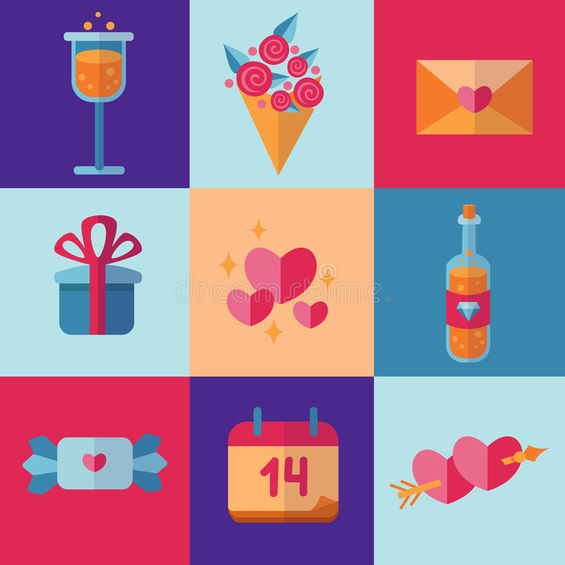 Ícones do dia de Valentim do St no estilo liso e em cores consideravelmente brilhantes imagens de stock
