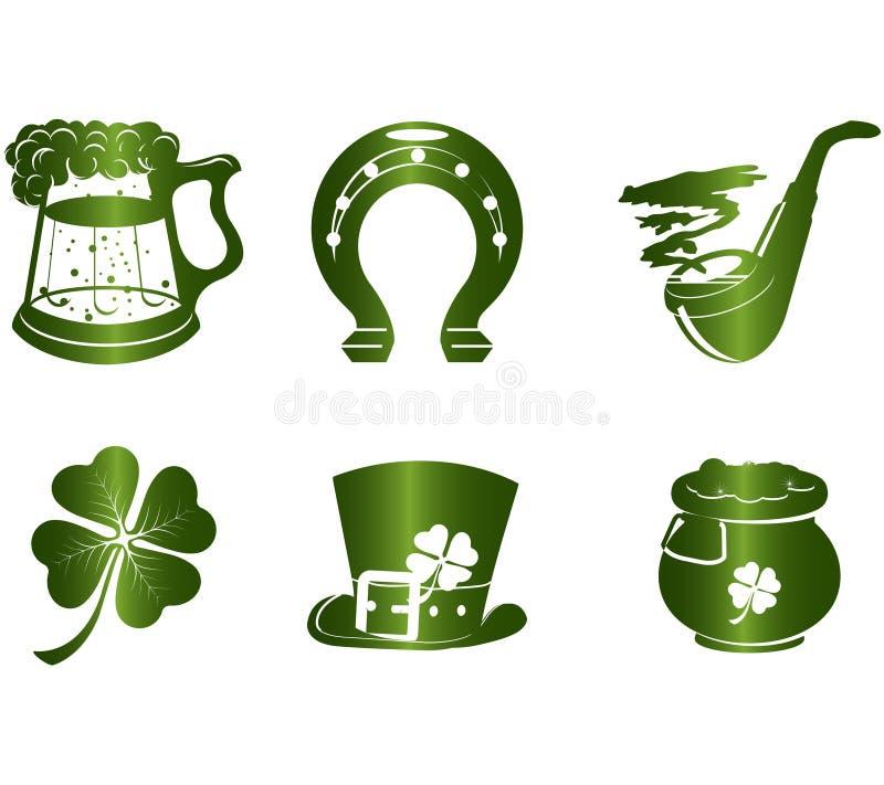 Ícones do dia do St. Patrick ilustração stock