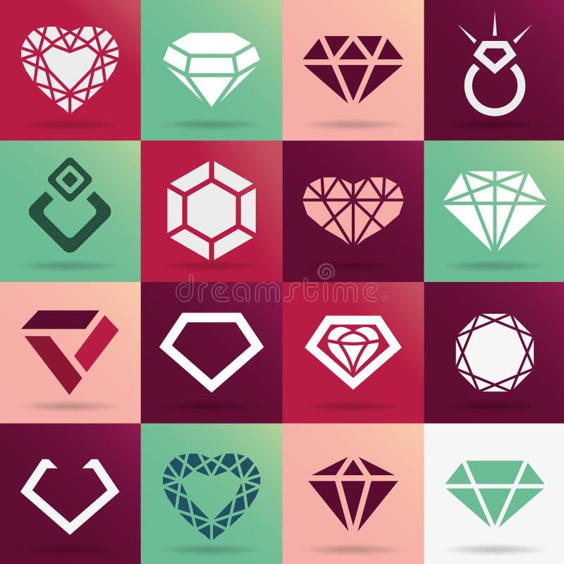 Ícones do diamante ajustados ilustração stock