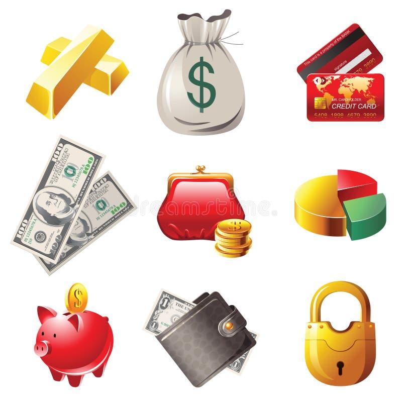 Ícones do dinheiro ilustração do vetor