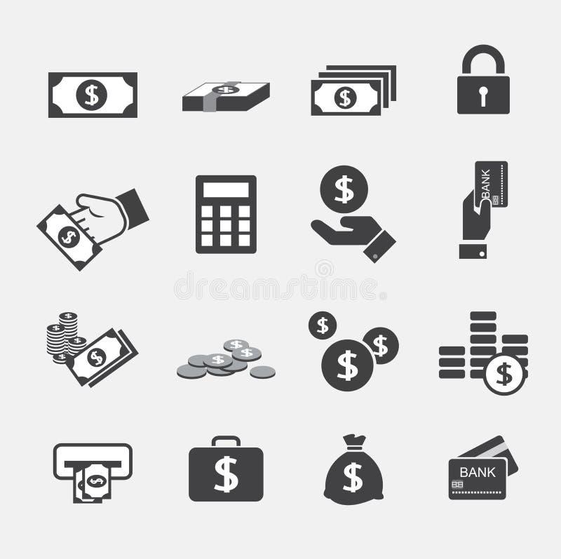 Ícones do dinheiro ajustados ilustração stock