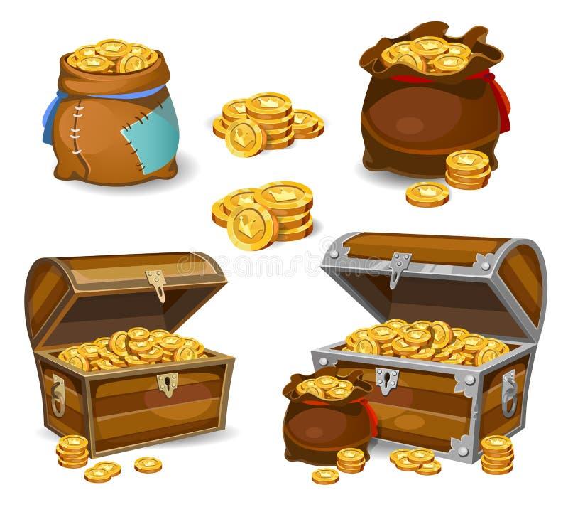 Ícones do dinheiro dos desenhos animados 3d do casino e do jogo Moedas de ouro em uns moneybags ilustração royalty free