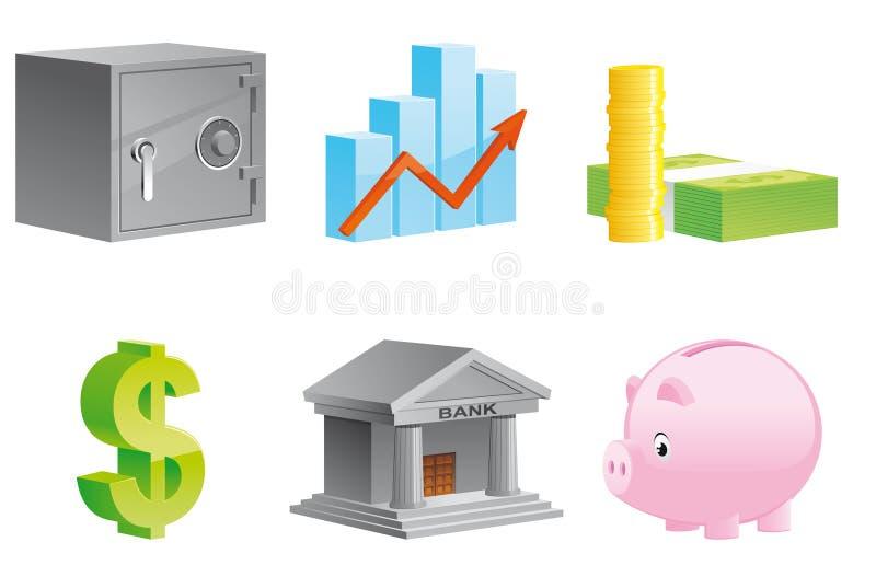 Ícones do dinheiro e da finança ilustração do vetor