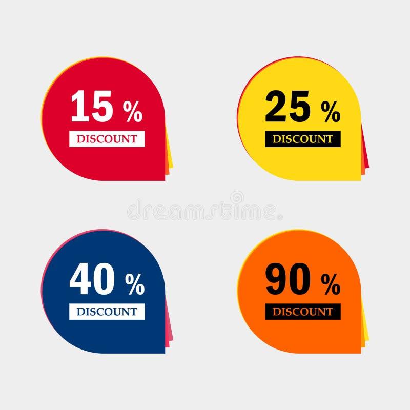 Ícones do disconto da venda Sinais do preço de oferta especial 15, 25, 40 e 90 por cento fora dos símbolos da redução ilustração stock