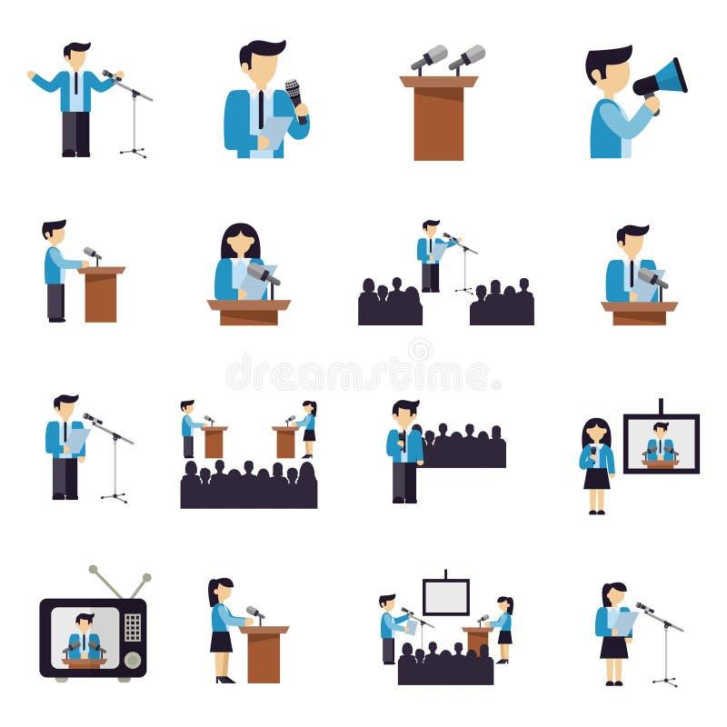 Ícones do discurso público horizontalmente ilustração royalty free