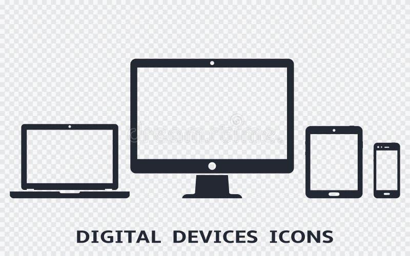 Ícones do dispositivo ajustados: smartphone, tabuleta, portátil e computador de secretária Ilustração do vetor do design web resp ilustração stock