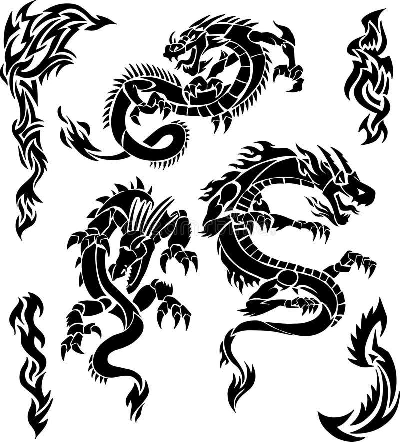 Ícones do dragão do vetor ilustração royalty free