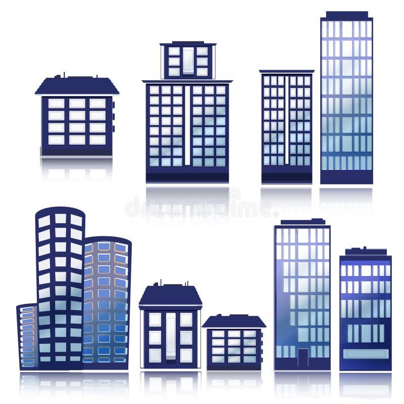 Ícones do edifício ajustados Ilustração do vetor Série de Simplus ilustração royalty free
