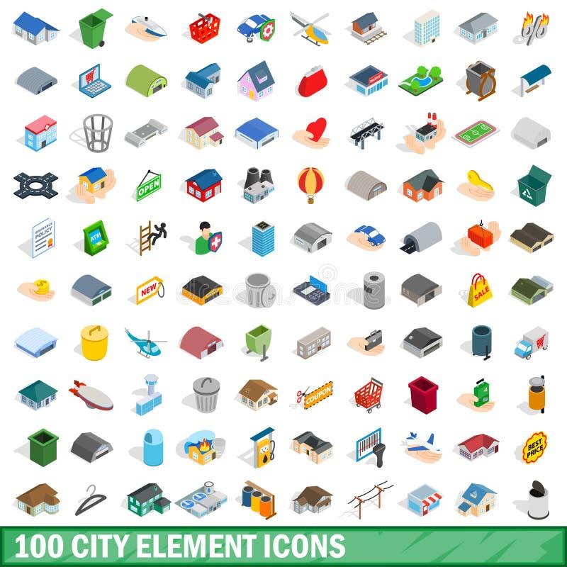 100 ícones do elemento da cidade ajustaram-se, o estilo 3d isométrico ilustração royalty free
