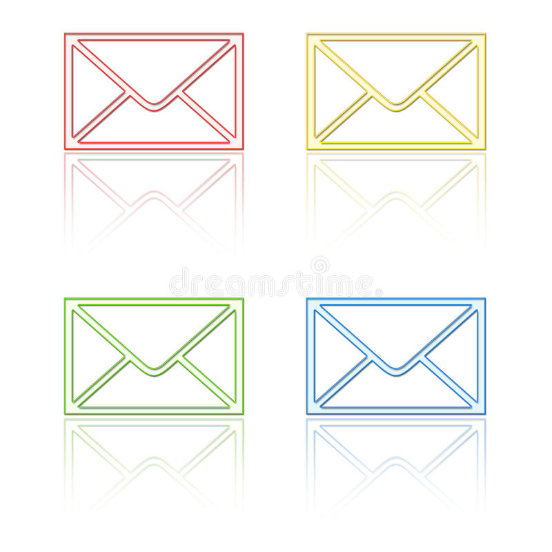 Ícones do email com reflexão ilustração royalty free