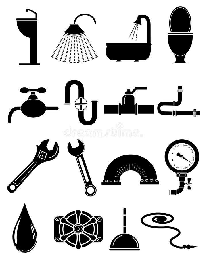 Ícones do encanamento ajustados ilustração stock