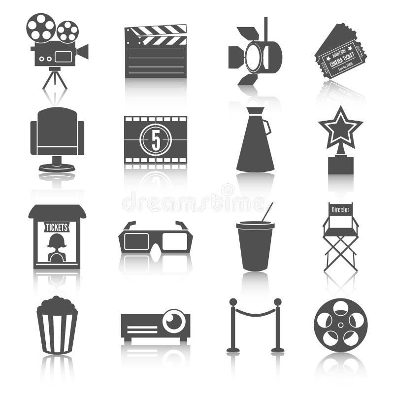 Ícones do entretenimento do cinema ajustados ilustração stock