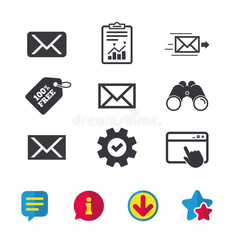 Ícones do envelope do correio Símbolos da mensagem ilustração royalty free