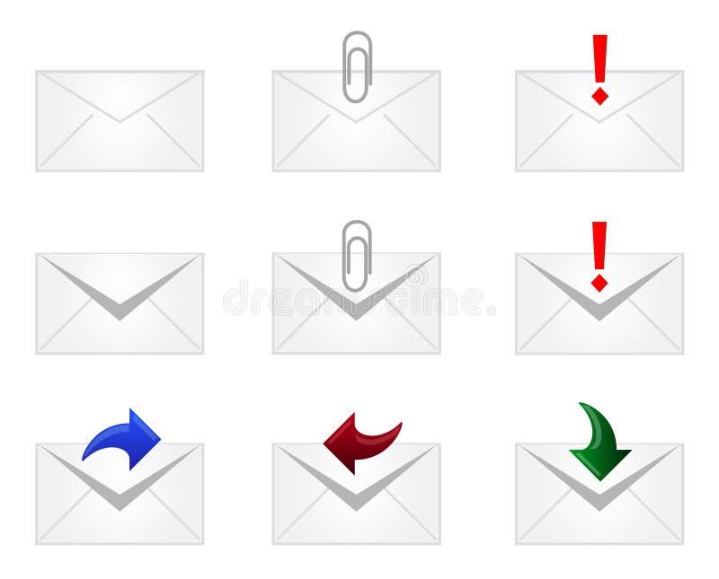 Ícones do envelope do email ilustração do vetor