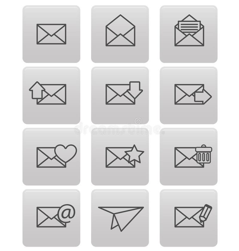 Ícones do envelope para o email em quadrados cinzentos ilustração do vetor