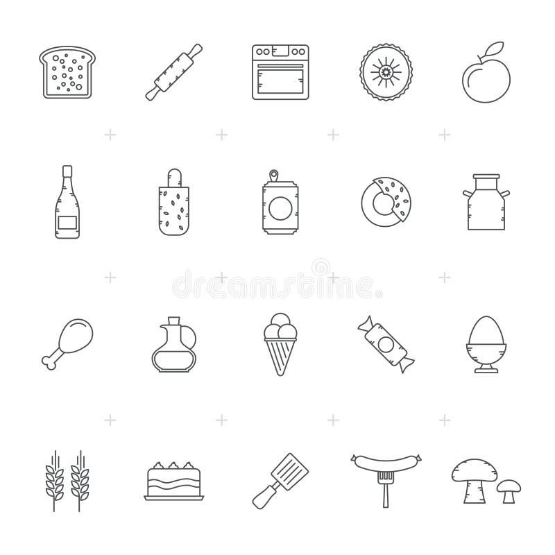 Ícones 3 do equipamento do alimento, da bebida e da cozinha ilustração do vetor