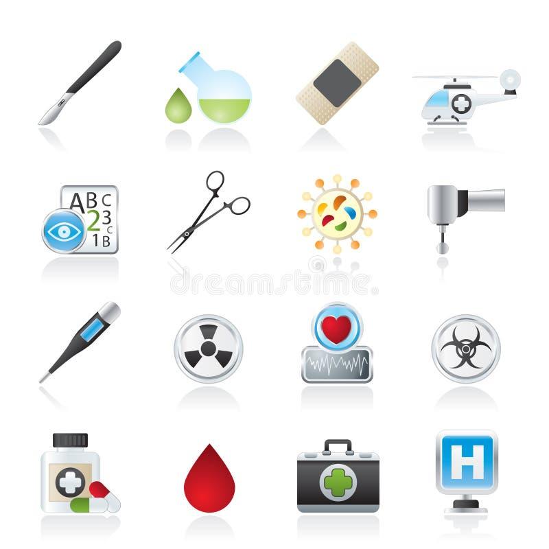 Ícones do equipamento da medicina e do hospital ilustração stock