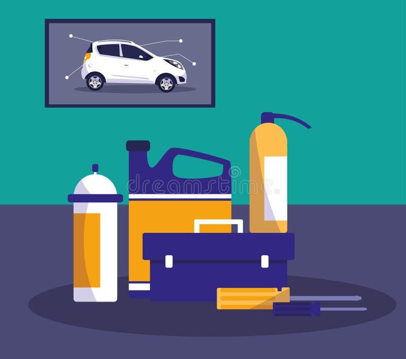 Ícones do equipamento de oficina da manutenção ilustração do vetor