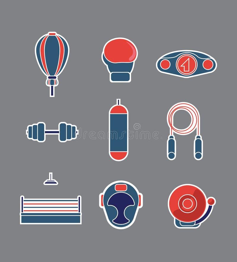 Ícones do equipamento do exercício em Gray Background Estilo liso do projeto ilustração stock