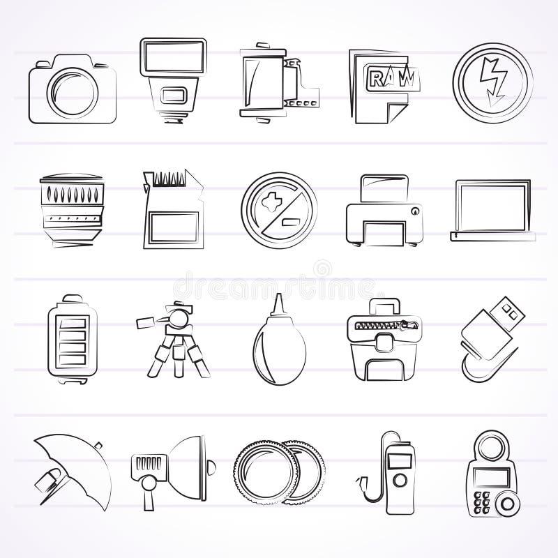 Ícones do equipamento e da fotografia da câmera ilustração stock