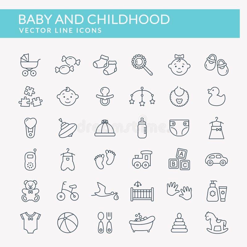 Ícones do esboço do bebê Grupo do vetor ilustração do vetor