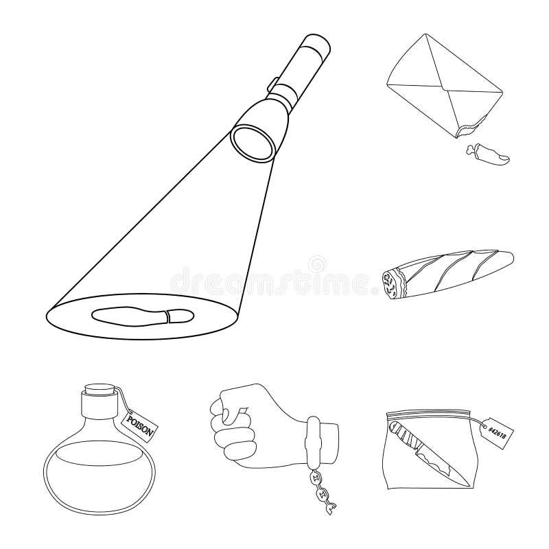 Ícones do esboço da agência de detetive na coleção do grupo para o projeto Web do estoque do símbolo do vetor do crime e da inves ilustração do vetor