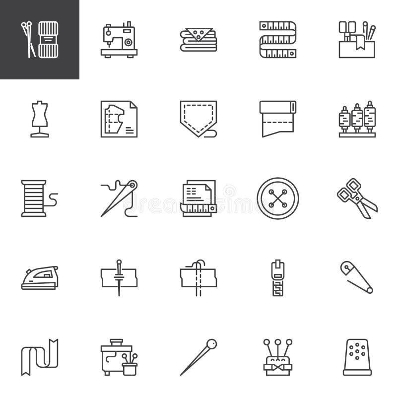 Ícones do esboço da costura ajustados ilustração royalty free