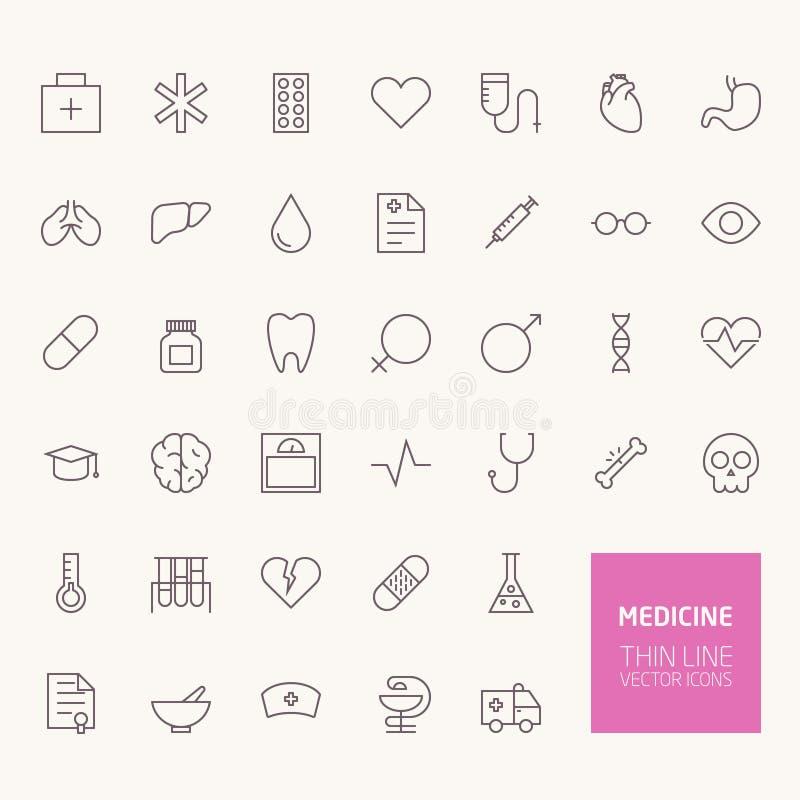 Ícones do esboço da medicina ilustração stock