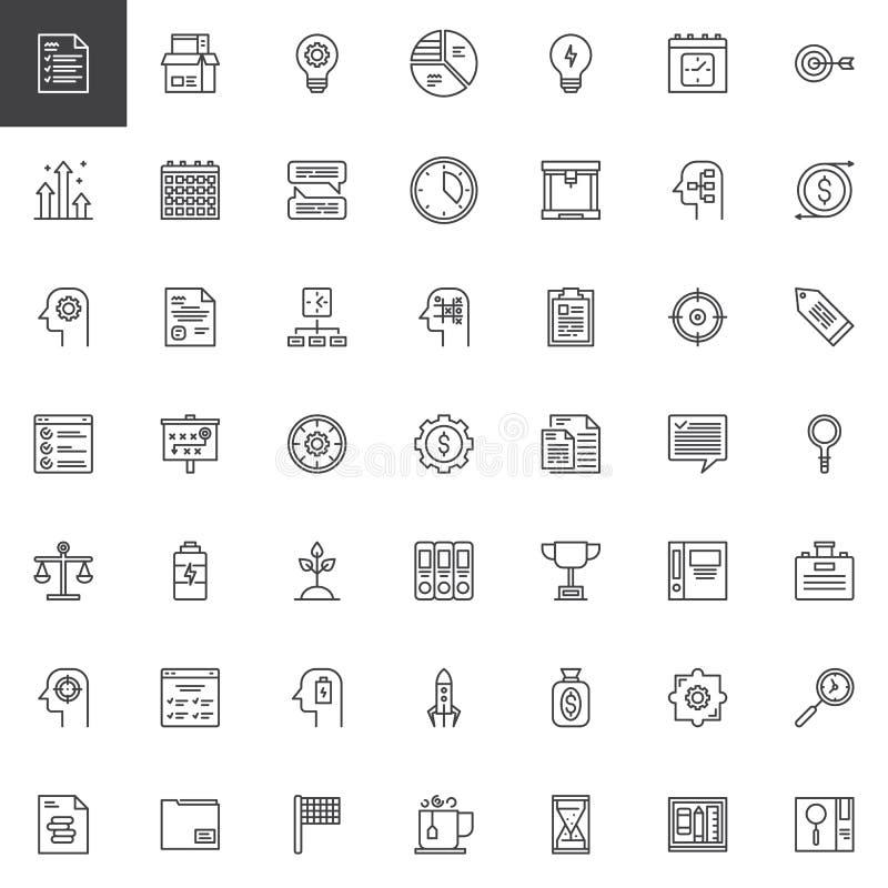 Ícones do esboço da produtividade do negócio ajustados ilustração royalty free