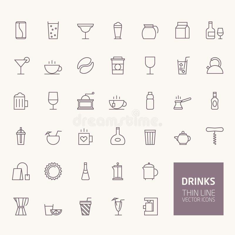 Ícones do esboço das bebidas ilustração royalty free