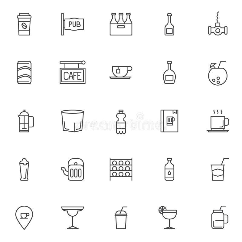 Ícones do esboço das bebidas ajustados ilustração do vetor