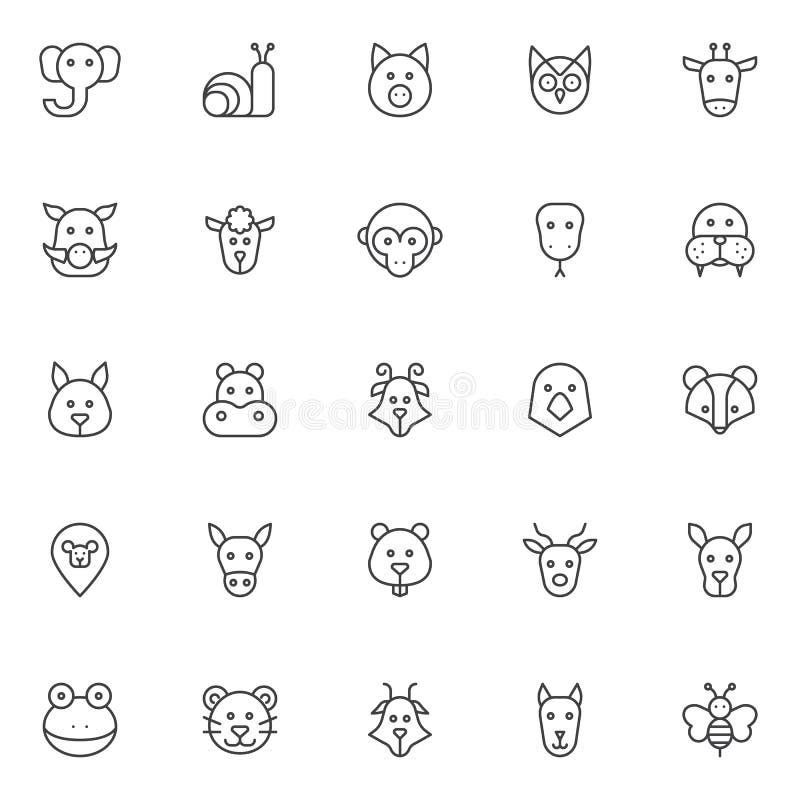 Ícones do esboço das cabeças dos animais ajustados ilustração stock