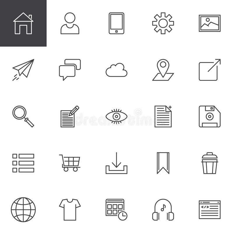 Ícones do esboço do desenvolvimento da Web ajustados ilustração do vetor