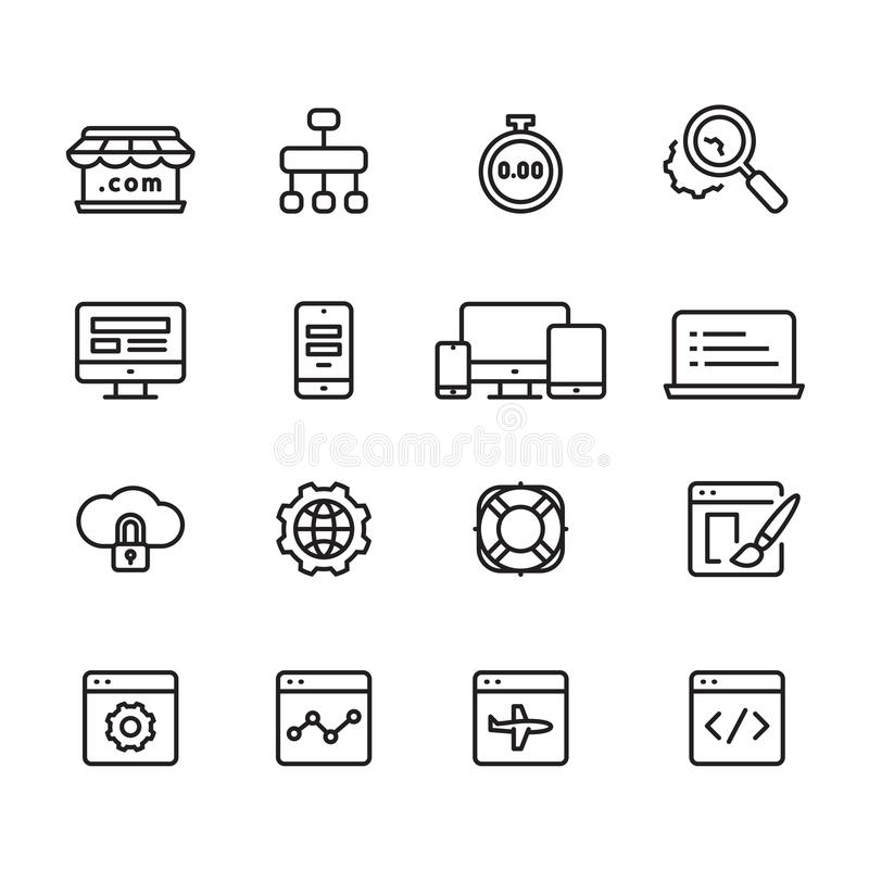 Ícones do esboço do desenvolvimento da Web, vetor ilustração stock