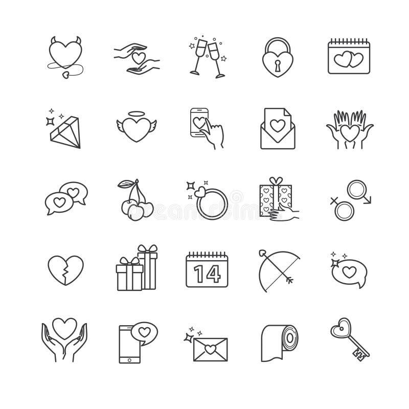 Ícones do esboço - dia do ` s do Valentim, grupo do amor ilustração stock