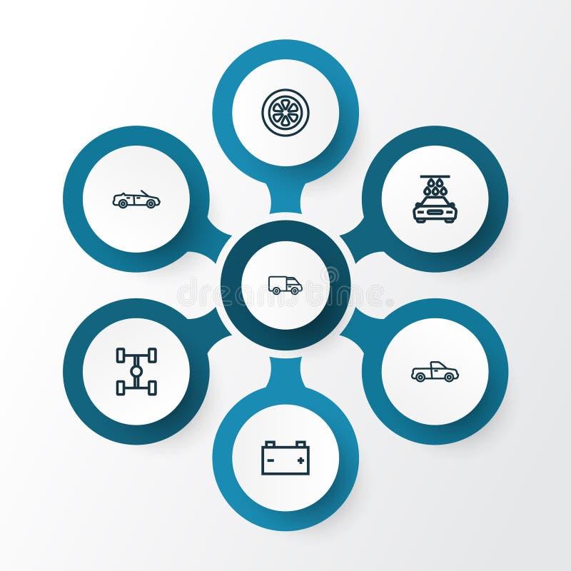 Ícones do esboço do automóvel ajustados Coleção da roda, lavagem, And Other Elements modelo convertível Igualmente inclui símbolo ilustração stock